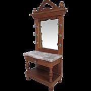 "German Dollhouse Furniture - Schneegas Golden Oak Hall Tree with Marble Top & Mirror - 1"""