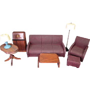"Strombecker Dollhouse Furniture - Complete 8 Piece Living Room Set from 1938 - 1"" Scale"