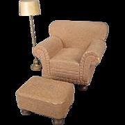 "Vintage Dollhouse Furniture - Strombecker Brown Flocked Club Chair Ottoman Lamp - 1"" Scal"