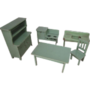 German Dollhouse Kitchen Furniture - Step Back Cupboard, Table, Chair, Stove plus Strombecker