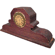 """German Dollhouse Accessory - Wooden Red Stain Mantle or Shelf Clock - 1"""" Scale"""