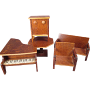 "German Dollhouse Furniture - 5 Piece Living or Music Room Set - 1936 - 3/4"" Scale"