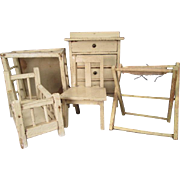 German Dollhouse Furniture - 5 Piece Nursery with Crib, Playpen, Dresser, Bathinette, Chair -