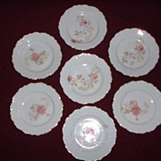 REDUCED Porcelain Butter Pats with Rose Transfer, O. & E. Gutherz