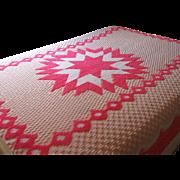 Vintage Chenille Pink Star Bedspread