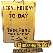 1930's Brass Bank Legal Holiday Sign