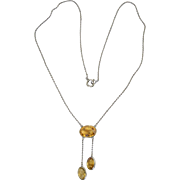Vintage Edwardian Art Deco Citrine Bezel Set Lariat 800 Silver Necklace