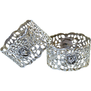 Pair Antique 835 German Fancy Filigree Cherub & Flower Napkin Rings