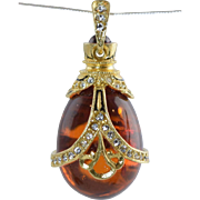 SALE PENDING Vintage Russian Silver Gilt & Amber Easter Egg Pendant/Charm w/Garnets & Crystals