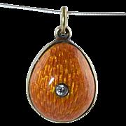 SALE Vintage Russian 84 Silver & Orange Guilloche Enamel Easter Egg Pendant/Charm w/Crystal