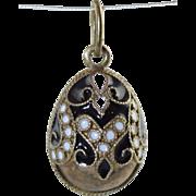 Vintage Russian 925 Sterling & Enamel Easter Egg Pendant/Charm Black & White Cloisonné Enamel