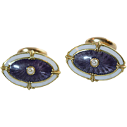 c1910 Wordley, Allsopp & Bliss 14K Purple & White Guilloche Enamel Cufflinks w/Pearls Antique