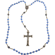 "Vintage Italian Blue Faceted Crystal Glass Rosary Beads w/Silver tone 2 1/8"" Crucifix ..."