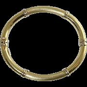 Beautiful 14K Brushed & Shiny Yellow & White Gold Hinged Bangle Bracelet 10.7 Grams