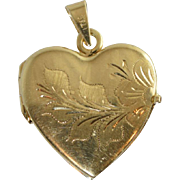 Beautiful Vintage 14k Heart Shaped Engraved Gold Locket or Big Charm 4.2 Grams
