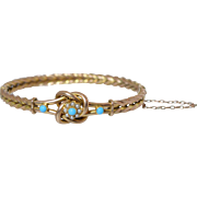 """Antique English 9CT Gold, Seed Pearl & Turquoise """"Love Knot"""" Hinged Bangle Bracelet"""