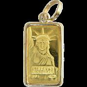 SOLD Vintage 1 Gram 24K Solid Gold Bar Credit Suisse Liberty in 14k Frame Charm