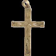 Vintage 10K Gold Engraved Cross Pendant