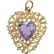 "Vintage 14k Gold Filigree & Amethyst Heart Shaped Pendant or Charm 7/8"" x 3/4"", 2.5"