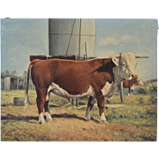 SOLD Jack Bryant Sr. (1929-2012) Original Oil Painting of a White Face Steer, Texas Artist Wes