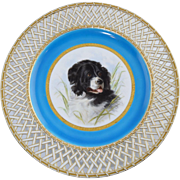 "Rare c1875 Minton Landseer ""Newfoundland Dog"" Hand Painted Plate Signed by Henry Mit"