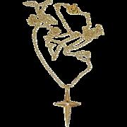 "Dainty 14k Gold & Diamond Cross with 18"" Chain"