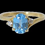 Blue Topaz 14k Gold Ladies Ring sz 6