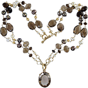 Beautiful 14k Gold Smoky Quartz & Pearl Necklace w/Pendant