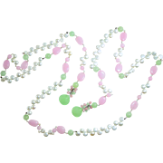 "49.5"" Long Pink & Green Chalcedony & Freshwater Pearl Lariat Necklace Sterling Silver Art"