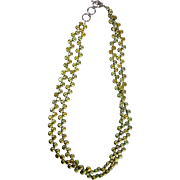 Green Iridescent Freshwater Pearl Necklace w/Sterling Silver clasp