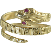 Vintage 14k Yellow Gold Coiled Snake Ring w/Ruby Eyes Handmade 6.1g, Sz 7.5