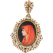 "Vintage 18k Etruscan Filigree ""St. Fabiola"" Miniature Portrait Pendant Italy Italian"