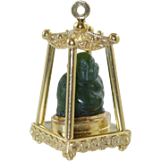 Vintage 18K Italian Etruscan Charm Carved Jade Buddha in Pagoda House Large 14.6 grams Gold It