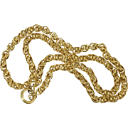 "19"" Victorian 14K Gold Ribbed Belcher Link Chain 23.6 Grams 19th Century Antique"
