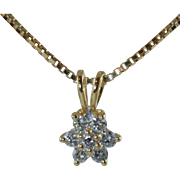 "Beautiful 14k Diamond Cluster Pendant .25ctw With 18"" 14k Box Chain 3.6 Grams"