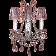 Pair Vintage Italian Venetian Beaded Crystal Sconces w/Mirror Backs & Original Crystal Glass S