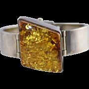Modernist Amber & Sterling Silver Large Hinged Cuff Bracelet 52.3g Modern Design