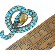 Victorian Snake Pin/Brooch Persian Turquoise Silver & Gold w/Garnet Eyes Antique