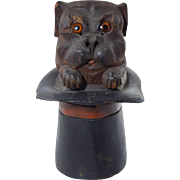 """Antique """"Pug in Top Hat"""" Carved Dog Inkwell Black Forest Wood w/Russian Travel inkwe"""