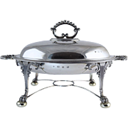 George III Style 1896 English Sterling Silver Breakfast Chafing Dish w/Mazarine Insert 2010 ..