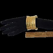 "1 3/4"" Wide Gold over Sterling Ethnic Pierced Cuff Bracelet 45.8g"