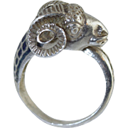 Vintage Italian Ancient Roman Style Ram Head 800 Silver & Enamel Ring size 6.5 Aries