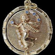 """Vintage 14K Gold Angel & Devil Jeweled Spinning Mechanical Charm/Pendant... Large 1.5"""" &"""