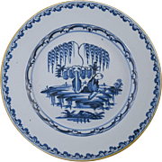 """Large 18th Century English Delft 13 1/4"""" Charger Plate Antique Pottery #7"""