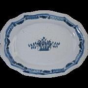 "Antique 19th Century French Blue & White Faience Oval Dish**Rouen Forges Les Eaux ""Cul No"