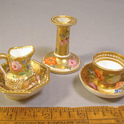 SOLD Antique c1820 Spode Toy Miniature Porcelain Set, Cup & Saucer, Ewer & Basin, Cand