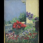 Antique Eugenie M. Heller (American 1867-1952) Impressionist Garden/Flower Painting c1900.. Fr