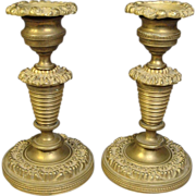 "c1820 French Empire Bronze Candlesticks Well Cast 5 1/4"" Antique"