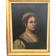 SOLD Antique 17th Century Italian Old Master Portrait of Young Woman, Museum De-accessioned in