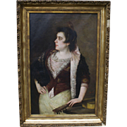 Jose Alarcon-Suarez (Spanish 19C) Large Portrait Painting of Lady/Senorita with Guitar 25.5""